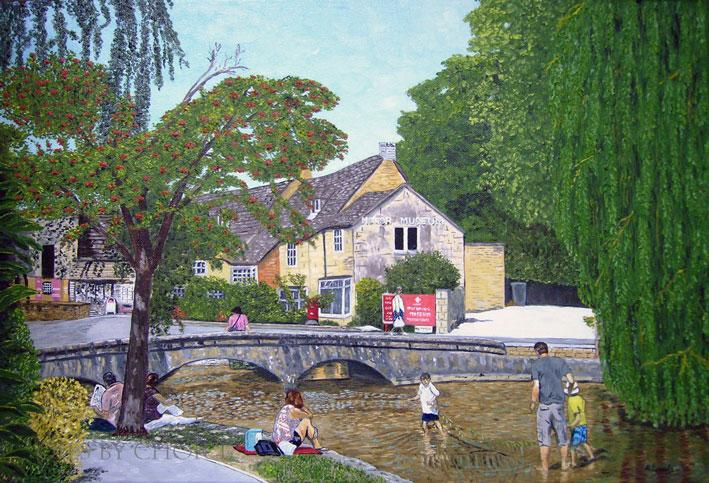 Oil painting Bourton on the Water