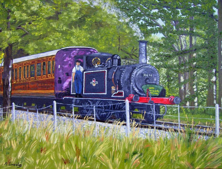 Tenterden Steam Train oil painting by Robert Lincoln