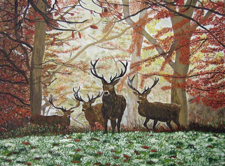 Oil painting Kings of Winter Stags